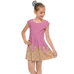 Ice Cream Pink Melting Background With Beige Cone Kids  Cap Sleeve Dress by genx