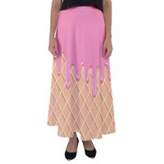 Ice Cream Pink Melting Background With Beige Cone Flared Maxi Skirt by genx
