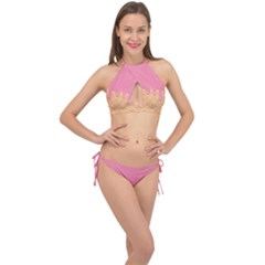 Ice Cream Pink Melting Background With Beige Cone Cross Front Halter Bikini Set by genx