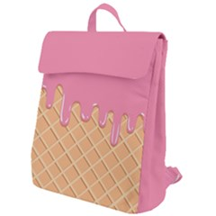 Ice Cream Pink Melting Background With Beige Cone Flap Top Backpack by genx