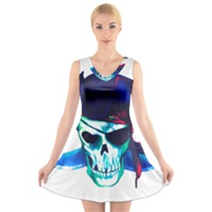 Skull Pirates Symbol Skeleton V Neck Sleeveless Dress