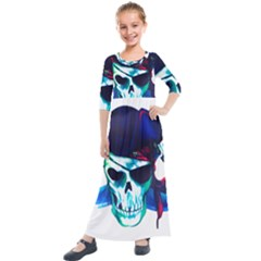 Skull Pirates Symbol Skeleton Kids  Quarter Sleeve Maxi Dress