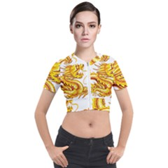Chinese Dragon Golden Short Sleeve Cropped Jacket