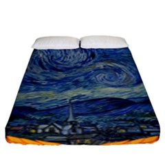 The Starry Night Starry Night Over The Rhne Pain Fitted Sheet (king Size)
