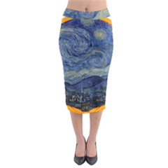 The Starry Night Starry Night Over The Rhne Pain Midi Pencil Skirt