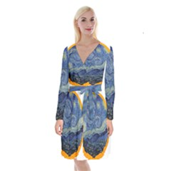 The Starry Night Starry Night Over The Rhne Pain Long Sleeve Velvet Front Wrap Dress