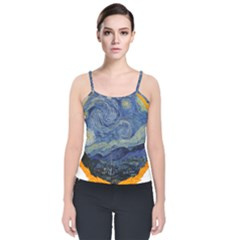 The Starry Night Starry Night Over The Rhne Pain Velvet Spaghetti Strap Top