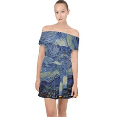 The Starry Night Starry Night Over The Rhne Pain Off Shoulder Chiffon Dress by Sudhe
