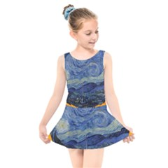 The Starry Night Starry Night Over The Rhne Pain Kids  Skater Dress Swimsuit