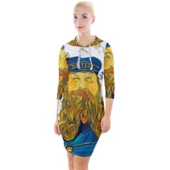 Vincent Van Gogh Cartoon Beard Illustration Bearde Quarter Sleeve Hood Bodycon Dress