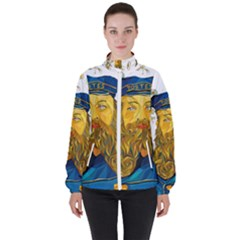 Vincent Van Gogh Cartoon Beard Illustration Bearde Women s High Neck Windbreaker