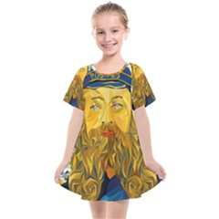 Vincent Van Gogh Cartoon Beard Illustration Bearde Kids  Smock Dress