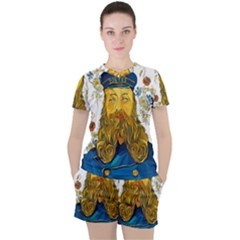 Vincent Van Gogh Cartoon Beard Illustration Bearde Women s Tee And Shorts Set