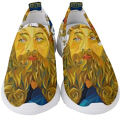 Vincent Van Gogh Cartoon Beard Illustration Bearde Kids  Slip On Sneakers