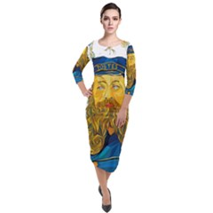 Vincent Van Gogh Cartoon Beard Illustration Bearde Quarter Sleeve Midi Velour Bodycon Dress