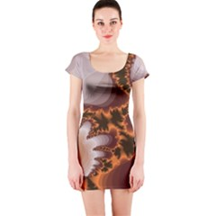 Fractal Pattern Shades Of Brown Short Sleeve Bodycon Dress