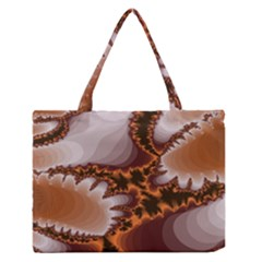 Fractal Pattern Shades Of Brown Zipper Medium Tote Bag