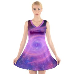 Spiral Strudel Galaxy Eddy Fractal V Neck Sleeveless Dress