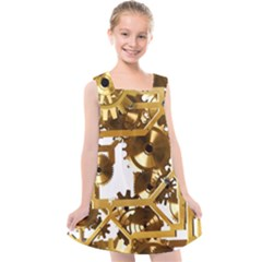 Cogs Gears Tiling Cogwheel Kids  Cross Back Dress