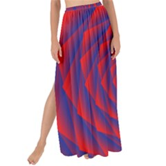 Fractal Rose Blue Red Maxi Chiffon Tie Up Sarong
