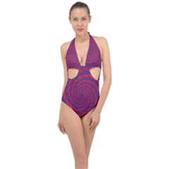 Fractal Rose Blue Red Halter Front Plunge Swimsuit