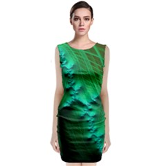 Fractal Maths Design Backdrop Sleeveless Velvet Midi Dress