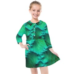 Fractal Maths Design Backdrop Kids  Quarter Sleeve Shirt Dress