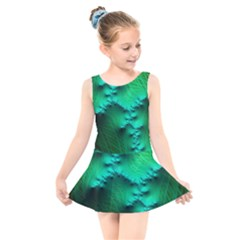Fractal Maths Design Backdrop Kids  Skater Dress Swimsuit