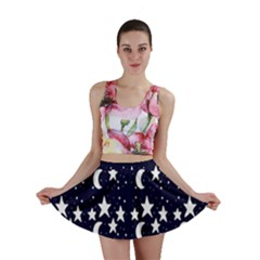 Starry Night Cartoon Print Pattern Mini Skirt by dflcprintsclothing