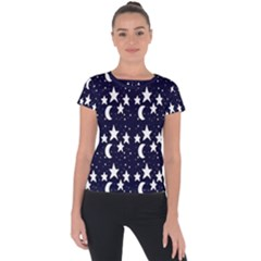 Starry Night Cartoon Print Pattern Short Sleeve Sports Top  by dflcprintsclothing
