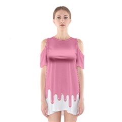Ice Cream Pink Melting Background Bubble Gum Shoulder Cutout One Piece Dress by genx
