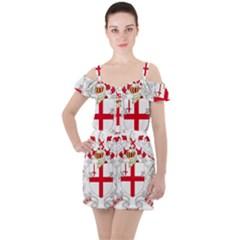Coat Of Arms Of The City Of London Ruffle Cut Out Chiffon Playsuit