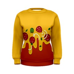Pizza Topping Funny Modern Yellow Melting Cheese And Pepperonis Women s Sweatshirt by genx