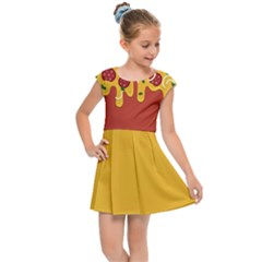 Pizza Topping Funny Modern Yellow Melting Cheese And Pepperonis Kids  Cap Sleeve Dress by genx