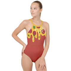 Pizza Topping Funny Modern Yellow Melting Cheese And Pepperonis High Neck One Piece Swimsuit by genx