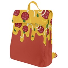 Pizza Topping Funny Modern Yellow Melting Cheese And Pepperonis Flap Top Backpack by genx