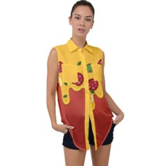Pizza Topping Funny Modern Yellow Melting Cheese And Pepperonis Sleeveless Chiffon Button Shirt by genx
