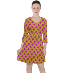 Pink Stars Pattern On Yellow Ruffle Dress