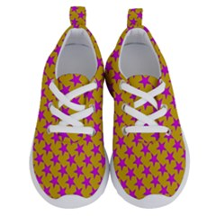 Pink Stars Pattern On Yellow Running Shoes by BrightVibesDesign