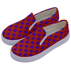 Purple Stars Pattern On Orange Kids  Canvas Slip Ons by BrightVibesDesign