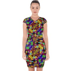 Color Mosaic Background Wall Capsleeve Drawstring Dress