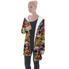 Color Mosaic Background Wall Longline Hooded Cardigan