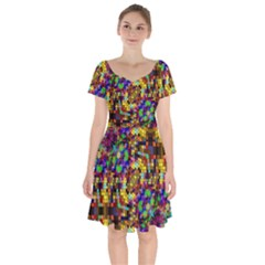 Color Mosaic Background Wall Short Sleeve Bardot Dress