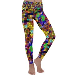 Color Mosaic Background Wall Kids  Lightweight Velour Classic Yoga Leggings by Pakrebo