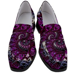 Fractal Background Swirl Art Skull Women s Chunky Heel Loafers