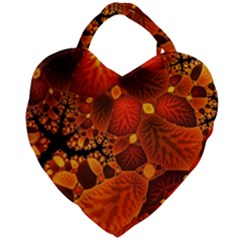 Leaf Autumn Nature Background Giant Heart Shaped Tote