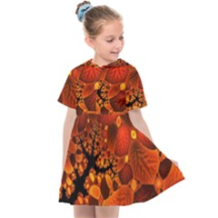 Leaf Autumn Nature Background Kids  Sailor Dress by Pakrebo