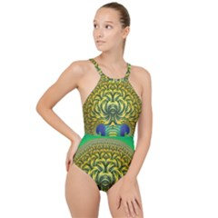 Fractal Tree Abstract Fractal Art High Neck One Piece Swimsuit by Pakrebo