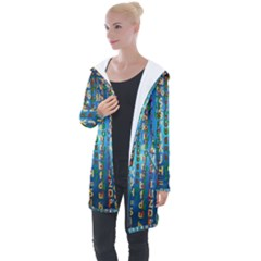 Binary Null One Digital Blue Longline Hooded Cardigan
