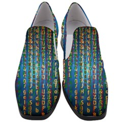 Binary Null One Digital Blue Slip On Heel Loafers by Pakrebo